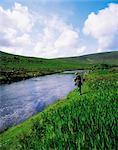 Owenmore River, Bangor Erris, Co Mayo, Irlande ; Pêche au saumon
