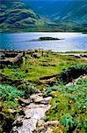 Doo Lough, Co Mayo, Irlande ; Touristes par une vieille ruine de Cottage