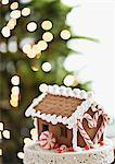 Maison de pain d'épice devant l'arbre de Noël