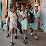 Group of schoolchildren walk together along the corridor, KwaZulu Natal Province, South Africa