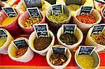 Spices at Market, Carcassonne, Aude, Languedoc-Roussillon, France