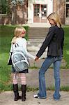 Mother Walking Daughter to School