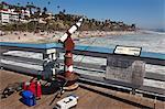Pêche Articles sur la jetée, la plage de San Clemente, Orange County, Californie, Etats-Unis