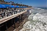 Restaurant sur le quai, plage de San Clemente, Orange Country, Californie, Etats-Unis