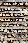 Piles de bois, Brienz, Interlaken-Oberhasli, Canton de Berne, Suisse