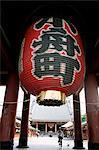 Japon, Tokyo, lanterne de porte d'entrée du Temple Asakusa Kannon