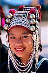 Thailand,Chiang Rai,Akha Hilltribe Girl Wearing Traditional Silver Headpiece