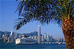 China,Hong Kong,Cruise Boat and City Skyline