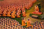 Thaïlande, Chiang Mai, Lamphun, Wat Haripunchai, murale illustrant la vie de Bouddha