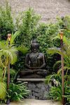 Pierre de Bouddha entourée d'arbres avec des torches au premier plan