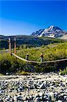 Les randonneurs traversent un pont suspendu au-dessus du ruisseau College se rendaient jusqu'au Gulkana Glacier, centre-sud de l'Alaska, l'été/n