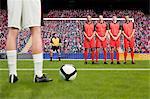 Freistoß während eines Fußballspiels