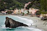 La plage de Fegina, Monterosso al Mare, Levanto, Province de La Spezia, côte ligure, Italie