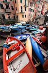 Bateaux à rames, Riomaggiore, Cinque Terre, Province de La Spezia, côte ligure, Italie