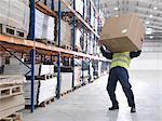 Arbeiter kämpfen mit Box im Warehouse