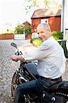 Man testing his motorcycle