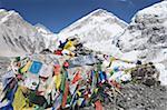 Prayer flags at the Everest Base Camp sign, Solu Khumbu Everest Region, Sagarmatha National Park, Himalayas, Nepal, Asia