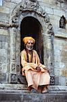 Sadhu (Holy Man) at Hindu pilgrimage site, Pashupatinath, Kathmandu, Nepal, Asia