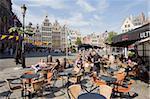 -Café en plein air, Grote Markt, Anvers, Flandre, Belgique, Europe