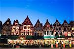 Markt (market square) illuminated at night, Old Town, UNESCO World Heritage Site, Bruges, Flanders, Belgium, Europe