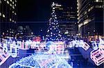Christmas tree and decorations above Cheonggye Stream at Cheonggye Plaza, Gwanghwamun, Seoul, South Korea, Asia
