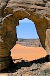 Afzgar arc, Akakus, Sahara desert, Fezzan (Libye), l'Afrique du Nord, Afrique