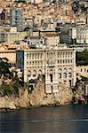 Vue depuis l'hélicoptère du Musée océanographique de Monaco et Monte Carlo, Monaco, Côte d'Azur, Méditerranée, Europe