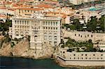 Vue depuis l'hélicoptère du Musée océanographique, Monaco, Côte d'Azur, Europe