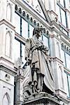 Statue of Dante Alighieri, Santa Croce, Florence, UNESCO World Heritage Site, Tuscany, Italy, Europe