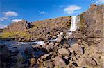 Oxara River tumbles down the Almannagja cliff face at Oxarafoss, Thingvellir National Park, UNESCO World Heritage Site, south-west Iceland (Sudurland), Iceland, Polar Regions