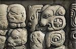 Glyphes mayas dans Temple 22, parc archéologique de Copan, patrimoine mondial de l'UNESCO, Copan, au Honduras, Amérique centrale
