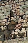 Sculpture en pierre du Dieu Maya, le parc archéologique de balle Cour, Copan, patrimoine mondial de l'UNESCO, Copan, au Honduras, Amérique centrale