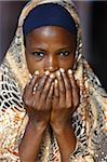 Muslim woman praying, Lome, Togo, West Africa, Africa
