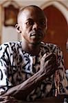 Christian man praying, Togoville, Togo, West Africa, Africa