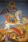 Greek Orthodox icon depicting St. George slaying a dragon in St. George's Orthodox church, Madaba, Jordan, Middle East