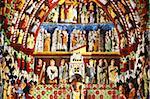 Tympan, illumination de cathédrale de Amiens, patrimoine mondial de l'UNESCO, Amiens, Somme, France, Europe