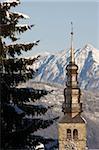 Clocher de Combloux, Combloux Haute-Savoie, France, Europe