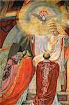 Fresque représentant Assemblée du concile Vatican II en Saint-Esprit église, Paris, France, Europe