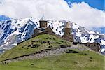 Famous Tsminda Sameba church, Kazbegi, Georgia, Caucasus, Central Asia, Asia