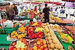 People shopping at street market, rue Mouffetard, Paris, France, Europe