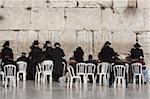 Hasidic Jews praying at the Western Wall, Jerusalem, Israel, Middle East