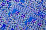 Micropuce. Microphotographie éclairage de la surface d'une puce électronique à l'aide de la microscopie en contraste d'interférence différentielle (DIC). Grossissement: x 250.