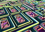 Micropuce. Ordinateur amélioré micrograph light de la surface d'une puce électronique à l'aide de la microscopie en contraste d'interférence différentielle (DIC). Grossissement: x 500.