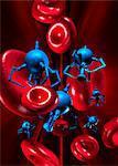 Medical nanorobots, computer artwork.