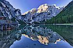 Mount Seekogel Reflected in Lago di Braies, South Tyrol, Italian Alps, Italy
