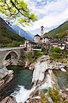Lavertezzo and Verzasca River, Locarno, Canton of Ticino, Switzerland