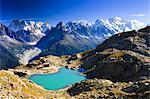 Vue d'ensemble des Aiguilles de Chamonix et le Lac Blanc, Savoie, France