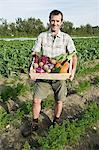 Homme tenant en bois créer de légumes fraîchement d'élevage