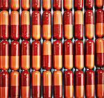 Nahaufnahme von Zeilen der Pille Kapseln