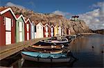 Rangée de maisons, Smogen, Bohuslaen, Vastra Gotaland County, Gotaland, Suède